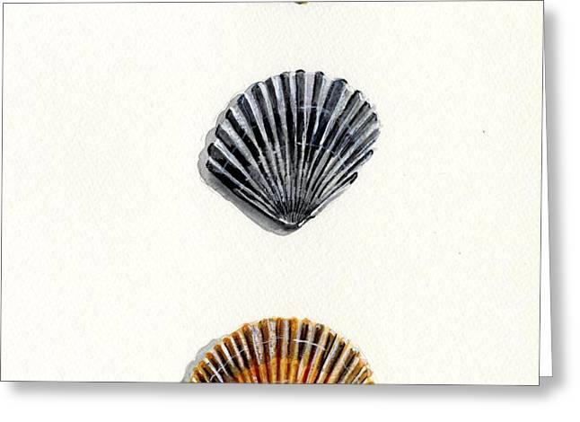 Scallop Shell Trio Greeting Card by Sheryl Heatherly Hawkins