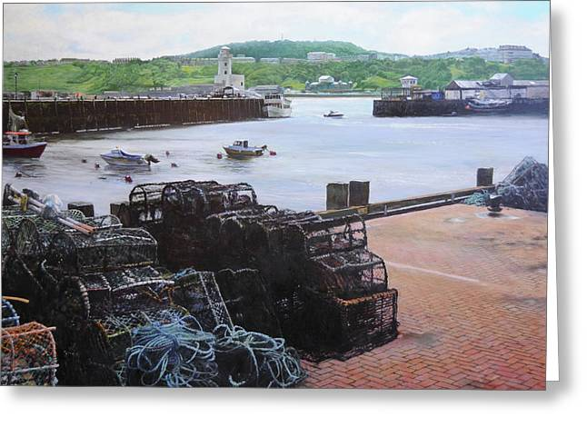 Fishing Boats Greeting Cards - Scarborough harbour. Greeting Card by Harry Robertson