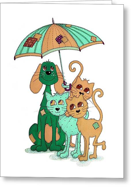 Umbrella Drawings Greeting Cards - Scarecrow Dog Cats and Brolly Greeting Card by Sandra Moore