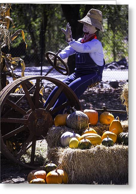 Scarecrow On Tractor Greeting Card by Garry Gay