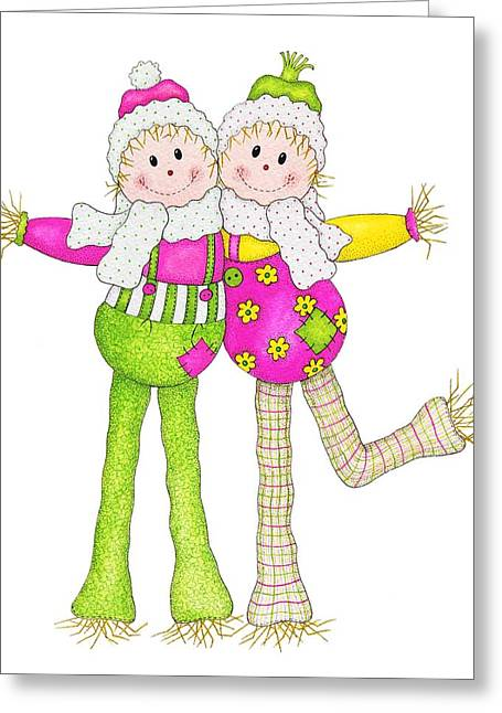 Humourous Greeting Cards - Scarecrow Pals Greeting Card by Sandra Moore