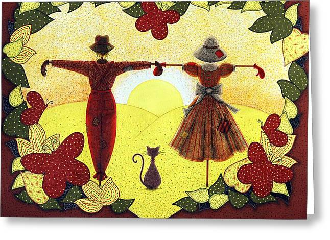 Border Drawings Greeting Cards - Scarecrow Sunset Greeting Card by Sandra Moore