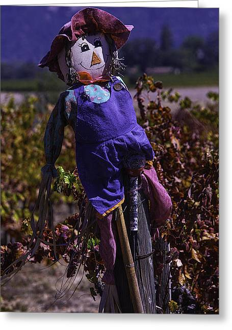 Scarecrow Greeting Cards - Scarecrow With Floppy Hat Greeting Card by Garry Gay