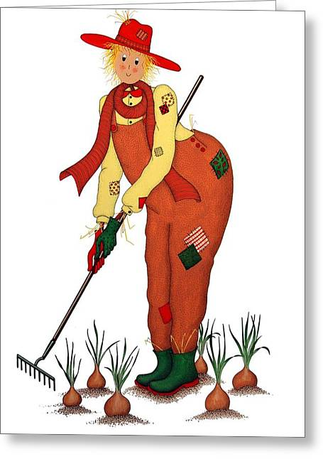 Patch Drawings Greeting Cards - Scarecrow with Onions Greeting Card by Sandra Moore