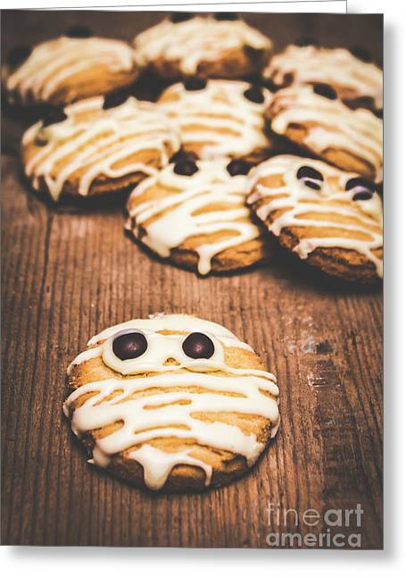 Scared Baking Mummy Biscuit Greeting Card by Jorgo Photography - Wall Art Gallery