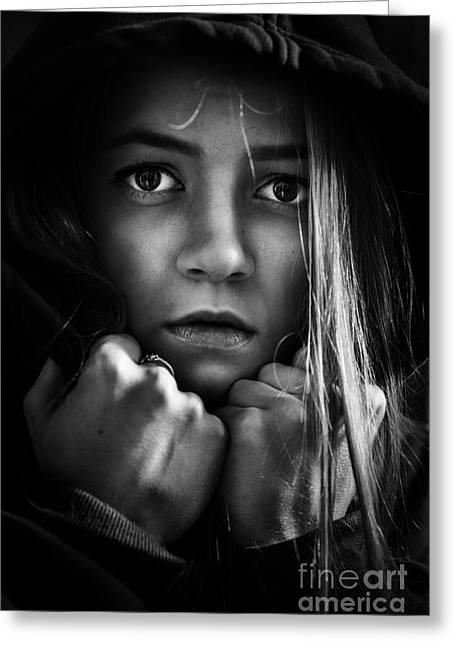 Scared Girl Greeting Card by Aleksey Tugolukov