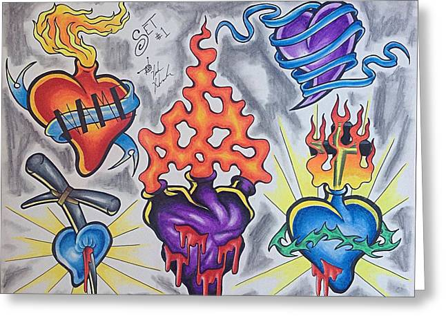 Sacred Drawings Greeting Cards - Scared heart flash Greeting Card by Noah Babcock