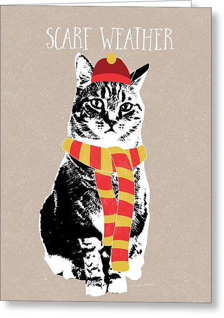 Striped Scarf Greeting Cards - Scarf Weather Cat- Art by Linda Woods Greeting Card by Linda Woods
