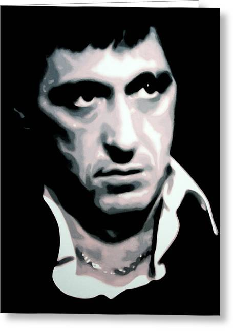 Tony Montana Greeting Cards - Scarface Greeting Card by Luis Ludzska