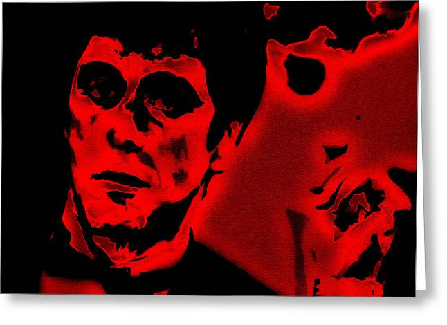 Cuban Refugee Greeting Cards - Scarface Red Greeting Card by Brian Reaves