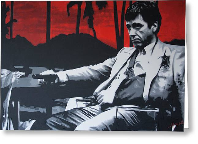 Tony Montana Greeting Cards - Scarface - Sunset 2013 Greeting Card by Luis Ludzska