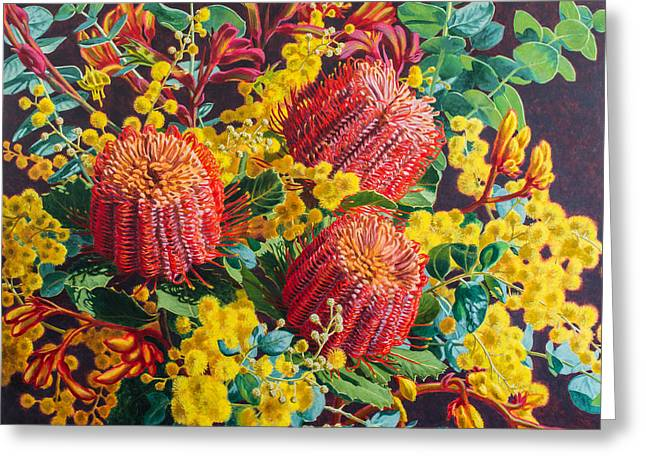Scarlet Banksias And Wattle Greeting Card by Fiona Craig