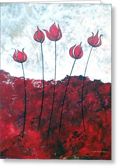 Scarlet Blooms Greeting Card by Herb Dickinson