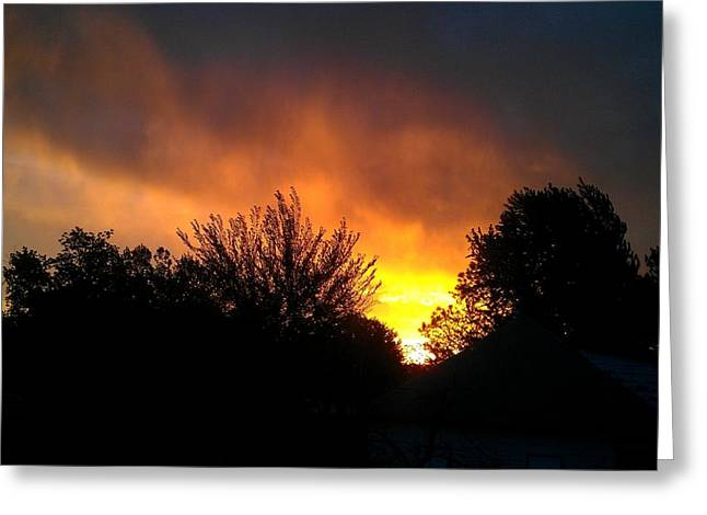 Rural Southern Oklahoma Greeting Cards - Scarlet Sunrise Greeting Card by Amber  Oxford