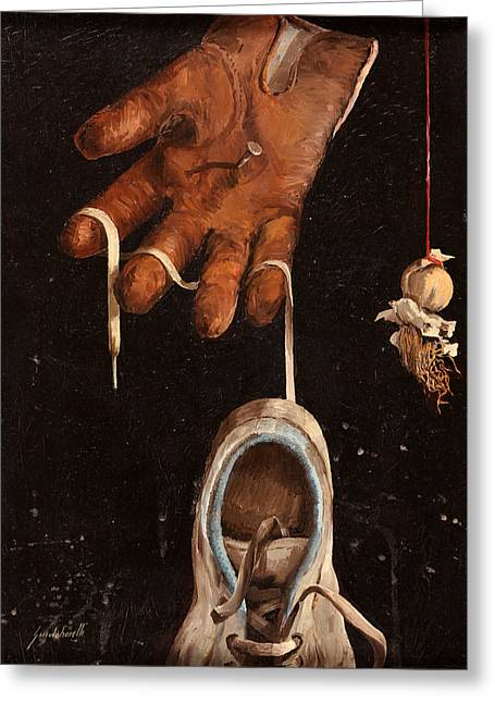 Gloves Greeting Cards - Scarpa Stringa Guanto Aglio Greeting Card by Guido Borelli