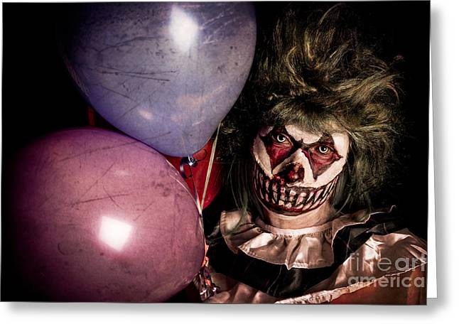 Scarey Greeting Cards - Scary Clown Greeting Card by Jt PhotoDesign