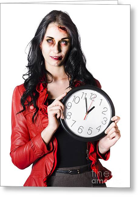 Large Clock Greeting Cards - Scary halloween woman holding clock Greeting Card by Ryan Jorgensen