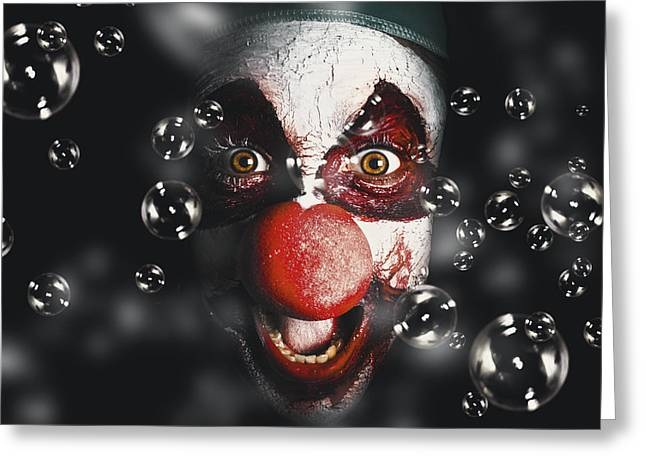 Scary Clown Greeting Cards - Scary horror circus clown laughing with evil smile Greeting Card by Ryan Jorgensen