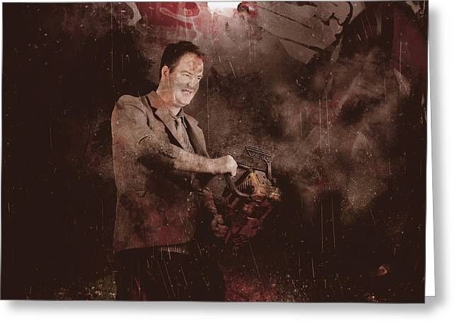 Book Cover Art Greeting Cards - Scary horror man slinging bloody chainsaw in dark Greeting Card by Ryan Jorgensen