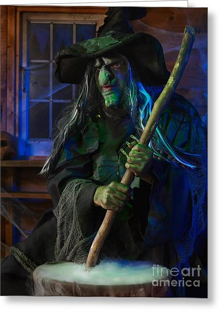 Frightful Greeting Cards - Scary Old Witch Greeting Card by Oleksiy Maksymenko