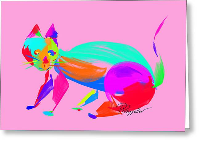 Kitten Prints Greeting Cards - Scat III Greeting Card by Patricia Presseller