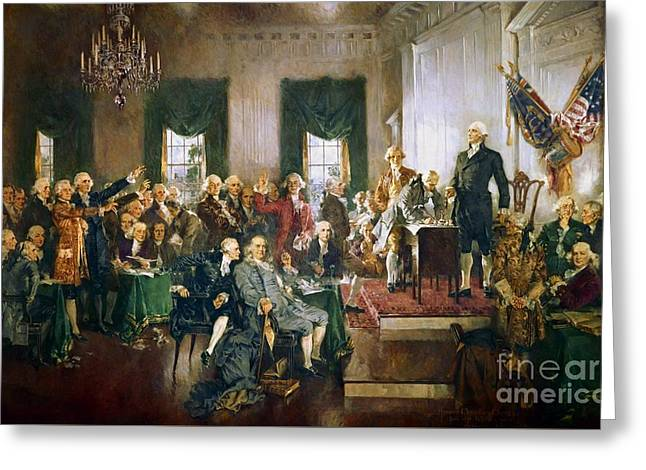 Independence Day Mixed Media Greeting Cards - Scene At The Signing Of The Declaration Of Independence Greeting Card by Frederick Holiday