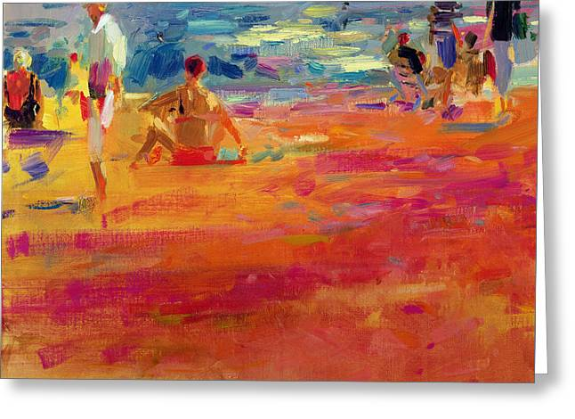 On The Beach Greeting Cards - Scene de Plage Greeting Card by Peter Graham