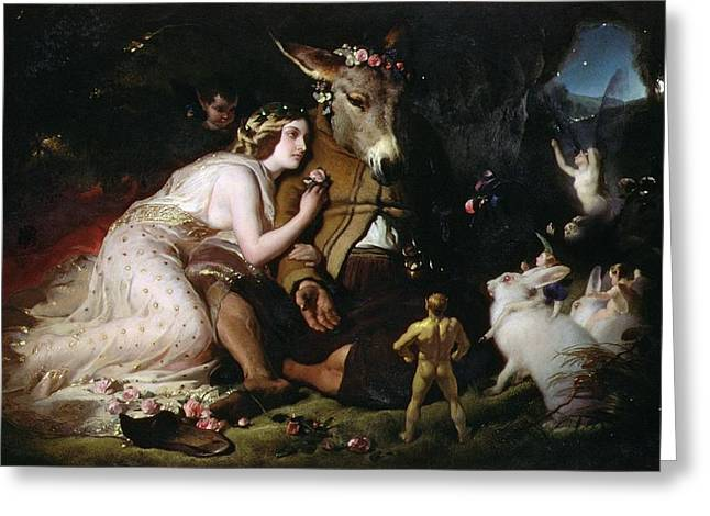 Ass Greeting Cards - Scene from A Midsummer Nights Dream Greeting Card by Sir Edwin Landseer