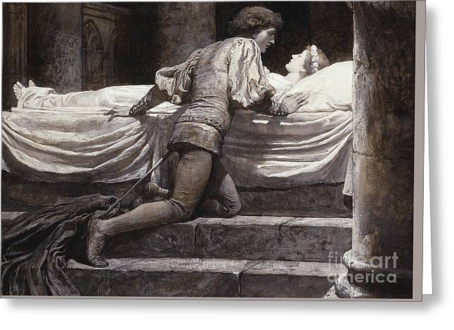 Scene From Romeo And Juliet - The Tomb  Greeting Card by Frank Dicksee