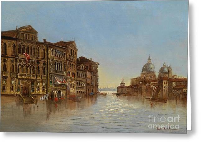 Gondolier Greeting Cards - Scene of Venice with a View of the Santa Maria della Salute Greeting Card by Karl Kaufmann