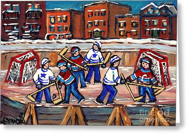 Hockey Paintings Greeting Cards - Scene Urbain De Montreal Avec Patinoire De Hockey A Lexterieur Verdun En Hiver Greeting Card by Carole Spandau
