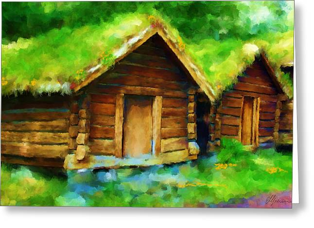 Shed Paintings Greeting Cards - Scenes from NORWAY Greeting Card by Michael Greenaway