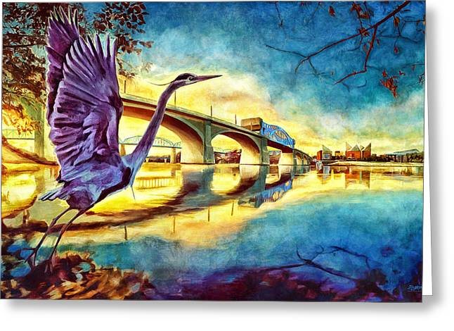 Tennessee River Greeting Cards - Scenic City Heron Greeting Card by Steven Llorca