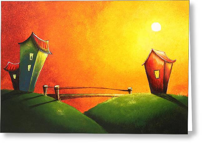 Scenic Buildings Drawings Greeting Cards - Scenic landscape  Greeting Card by Nirdesha Munasinghe