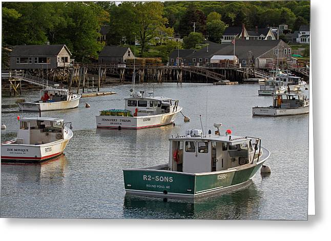 New England Village Greeting Cards - Scenic New Harbor Maine Greeting Card by Juergen Roth