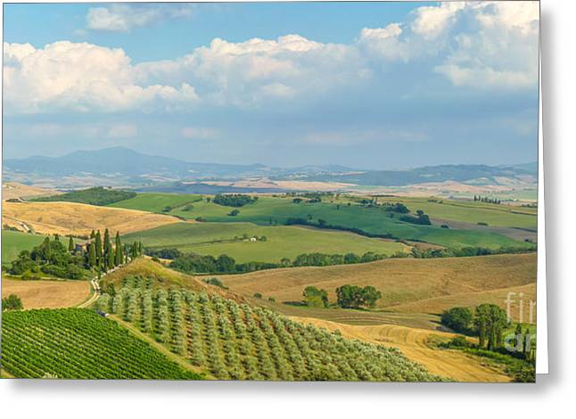 Italian Sunset Greeting Cards - Scenic Tuscany landscape at sunset, Val dOrcia, Italy Greeting Card by JR Photography