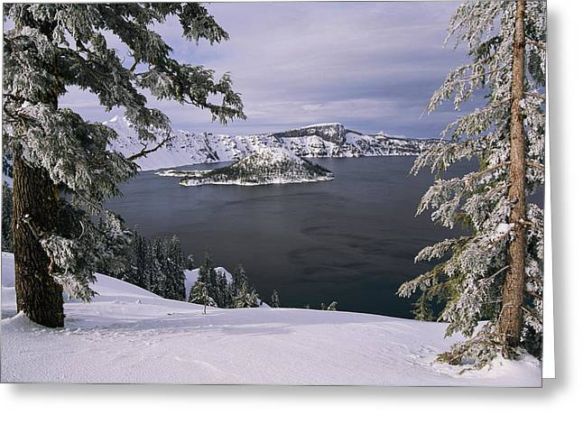 Crater Lake View Greeting Cards - Scenic View At Crater Lake National Greeting Card by Paul Nicklen