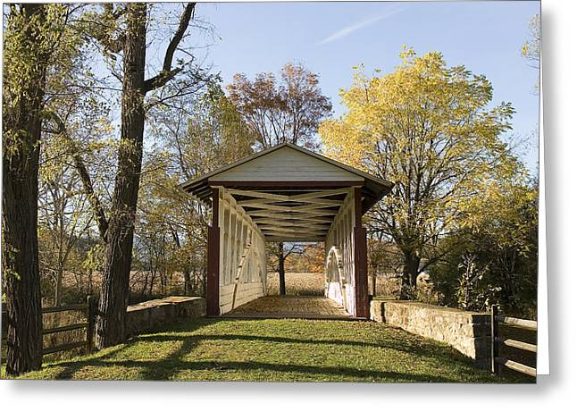 Scenic View Of A Covered Bridge Greeting Card by Charles Kogod