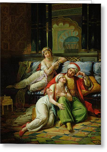 Couch Greeting Cards - Scheherazade Greeting Card by Paul Emile Detouche