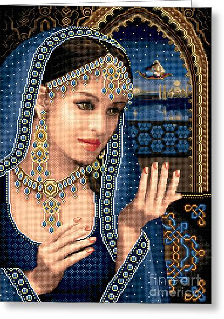 Woman Tapestries - Textiles Greeting Cards - Scheherazade Greeting Card by Stoyanka Ivanova