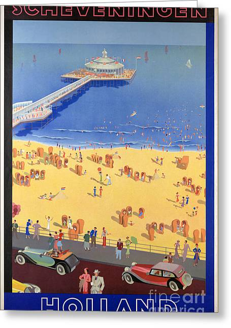 On The Beach Greeting Cards - Scheveningen in Holland Vintage Travel Poster Restored Greeting Card by Carsten Reisinger