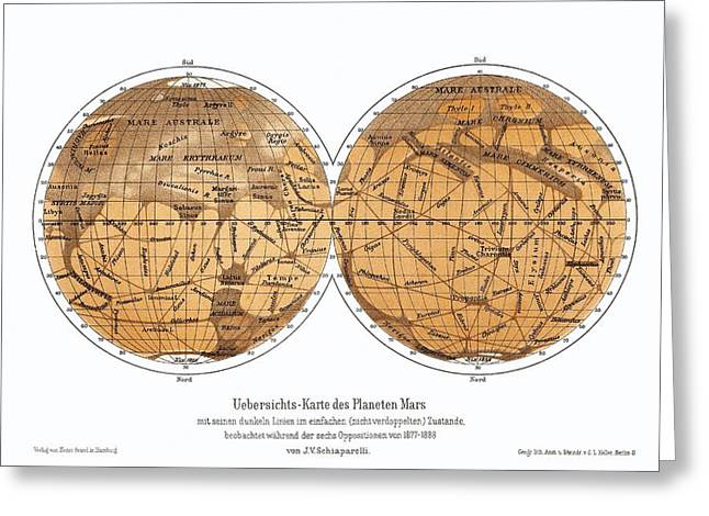 1870s Greeting Cards - Schiaparellis Map Of Mars, 1877-1888 Greeting Card by Detlev Van Ravenswaay