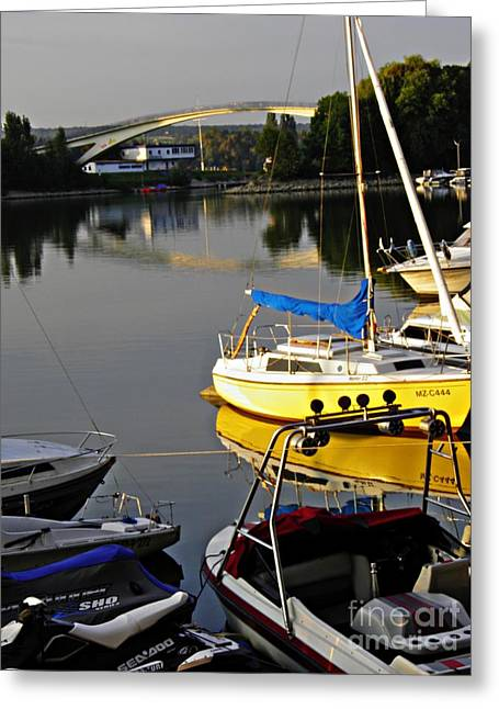 Schierstein Marina Late Afternoon Greeting Card by Sarah Loft