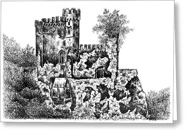 Fed Drawings Greeting Cards - Schloss Rheinstein - Rheinstein Castle Greeting Card by Deborah Willard