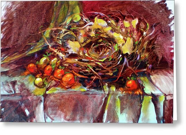 Schmid's Birds Nest Greeting Card by Richard Rochkovsky