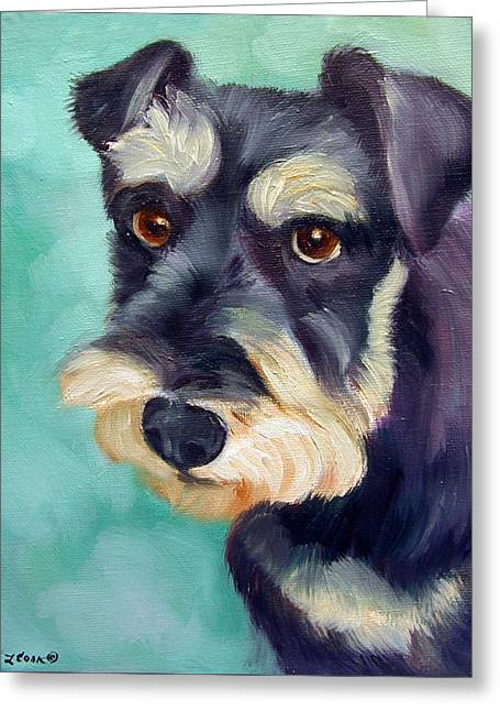 Schnauzer Greeting Card by Lyn Cook
