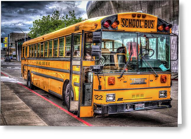 School Bus Greeting Card by Spencer McDonald