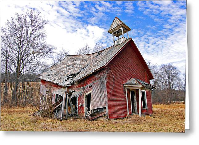Abandoned School House. Greeting Cards - School Is Out Greeting Card by Brian Graybill