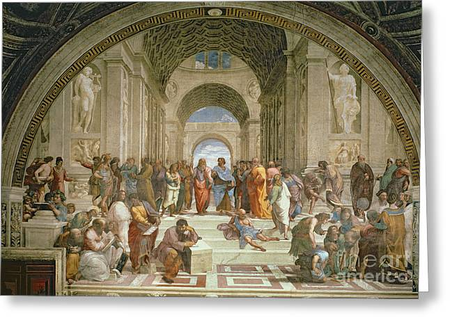 Fresco Greeting Cards - School of Athens from the Stanza della Segnatura Greeting Card by Raphael