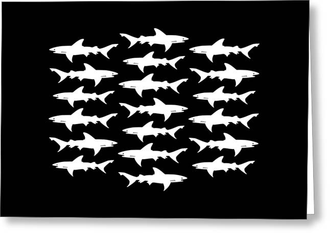 School Houses Digital Greeting Cards - School of Sharks Black and White Greeting Card by Antique Images
